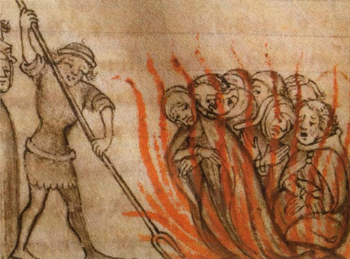 Templars being burned at the stake