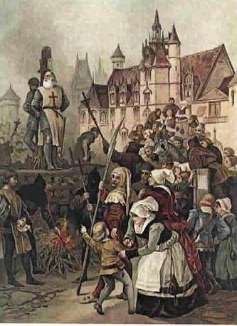 Jacques de Molay, last Grand Master of the Templars, being burned at the stake
