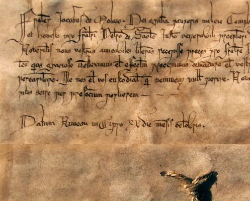 Autograph copy of a letter from Jacques de Molay , the last Master of the Temple