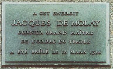 Plaque commemorating the burning of Jacques de Molay, last Grand Master of the Knights Templar