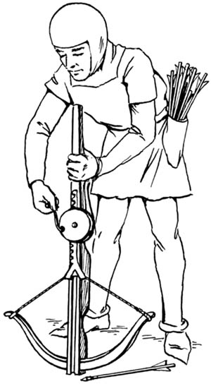 Often crossbows had to be mechanically recharged, thus having a low rate of fire.