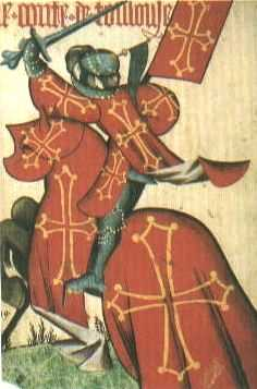 the Count of Toulouse wearing his Coat of Arms and mounted on a caparisonned steed.