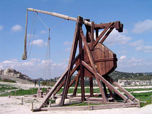 A counterweight trebuchet of average size.
